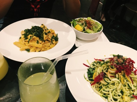Mac n Cheese, Caesar Salad and the Raw Bowl at Plant Matter Kitchen. Source: Savannah Hamelin