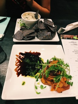 Roasted Garlic Spinach Dip and the Sweet Potato Stack at Plant Matter Kitchen. Source: Savannah Hamelin