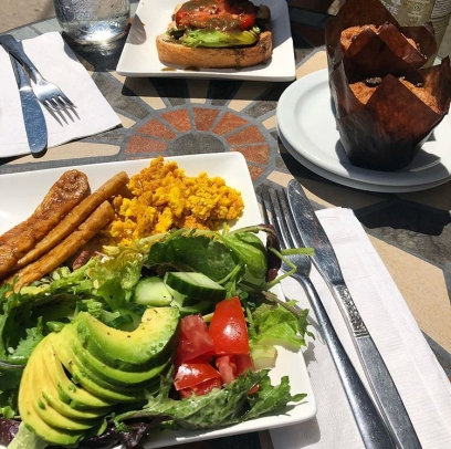 The breakfast plate with salad instead of hashbrowns at Plant Matter Café. Source: Savannah Hamelin