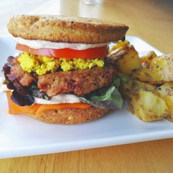 Breakfast sandwich and hashbrowns. Source: Plant Matter Kitchen Café