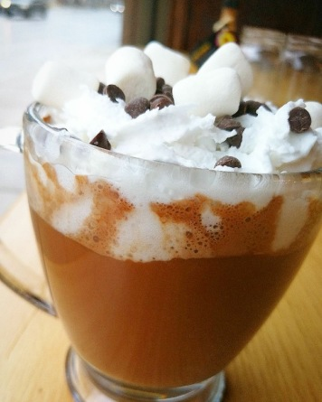 Hot chocolate with coconut whipped cream and vegan marshmallows. Source: Plant Matter Café Facebook